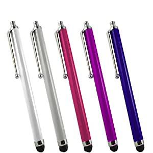 SAMRICK - Pack of 5 - High Capacitive Aluminium Stylus Pen for Samsung D428 - White & Silver & Pink & Purple & Blue