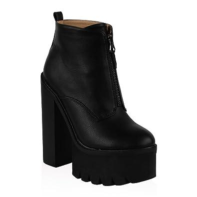 af7ba8d097c My1stwish Women's High Platform Grip Sole Chunky Block Heel Ankle ...