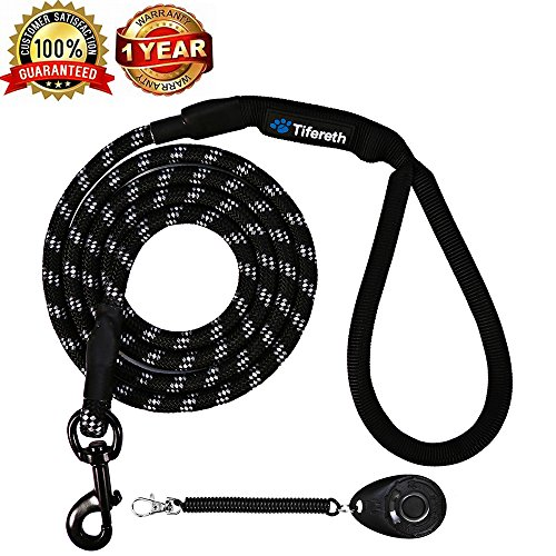 Dog Leashes for Medium and Large Dogs Mountain Climbing Rope Dog Leash 4 ft Long Supports the Strongest Pulling Large and Medium Sized Dogs(Free Dog Training Clicker) (4 Feet, Black)
