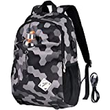 Vbiger Laptop Backpack Oxford Computer Shoulder Bag Casual School Bags with Charging Port (Grey)