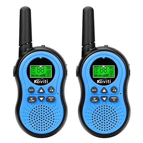 Koviti Kids Walkie Talkies 2 Way Radio 22 Channel Range Up to 3Miles UHF Walky Talkies Interphone Toy Gift for Kids (Blue,2 Pack)