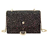 Gabrine Womens Shoulder Crossbody Evening Bag Handbag Clutch Purse Glitter Sequin for Dailywear Wedding Party(Black)