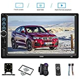 7 Inch Double Din Car Stereo Bluetooth Headunit TF USB FM Radio Audio Touchscreen MP5 Player Receiver Support Rear-View Camera Steering Wheel Remote Control Mirror Link