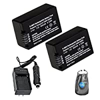 Amsahr S-BMB9-2CT Digital Replacement Battery Plus Travel Charger for Panasonic BMB9, DMCFZ47 with Lens Accessories Pouch, Pack of 2 (Gray)