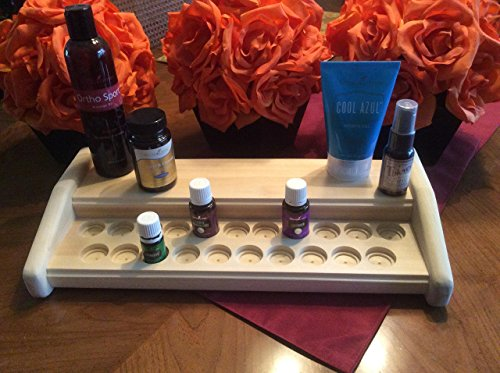 Essential oil rack / holder, wood oils organizer, storage stand for 21 bottles PLUS bonus accessories shelf! Holds both 5ml and 15ml bottles, unique oils display, 4 colors available! - Hutch Plus Storage