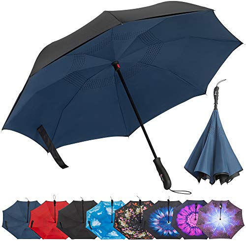 (Repel Reverse Folding Inverted Umbrella with 2 Layered Teflon Canopy with Reinforced Fiberglass Ribs (Navy Blue))