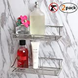 [2-Pack] Bathroom Shelf, SMARTAKE Wall Mounted Shower Caddy with Traceless Adhesive, No Drilling Storage Organizer Rack SUS304 Stainless Steel for Kitchen, Bathroom, Toilet (Silver)