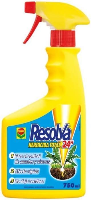 Compo Resolva Herbicida Total 24h, Control de Malas Hierbas, Efecto rápido, Envase pulverizador, 750 ml