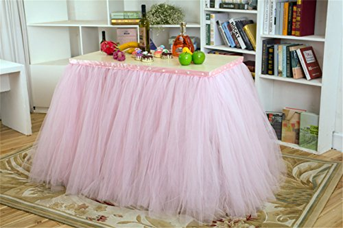 Shinestar Handmade Pink Tutu Table Skirt Princess Queen Tulle Pearl Table Cloth for Wedding Birthday Baby Shower Party Decoration (1 yard)