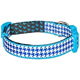 "Blueberry Pet 13 Patterns Classy Houndstooth Statement Dog Collar, Royal Blue, Medium, Neck 14.5""-20"", Adjustable Collars for Dogs"