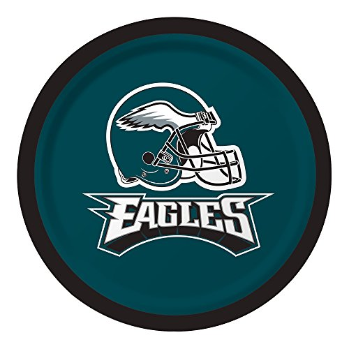 Creative Converting Officially Licensed NFL Dessert Paper Plates, 96-Count, Philadelphia Eagles -