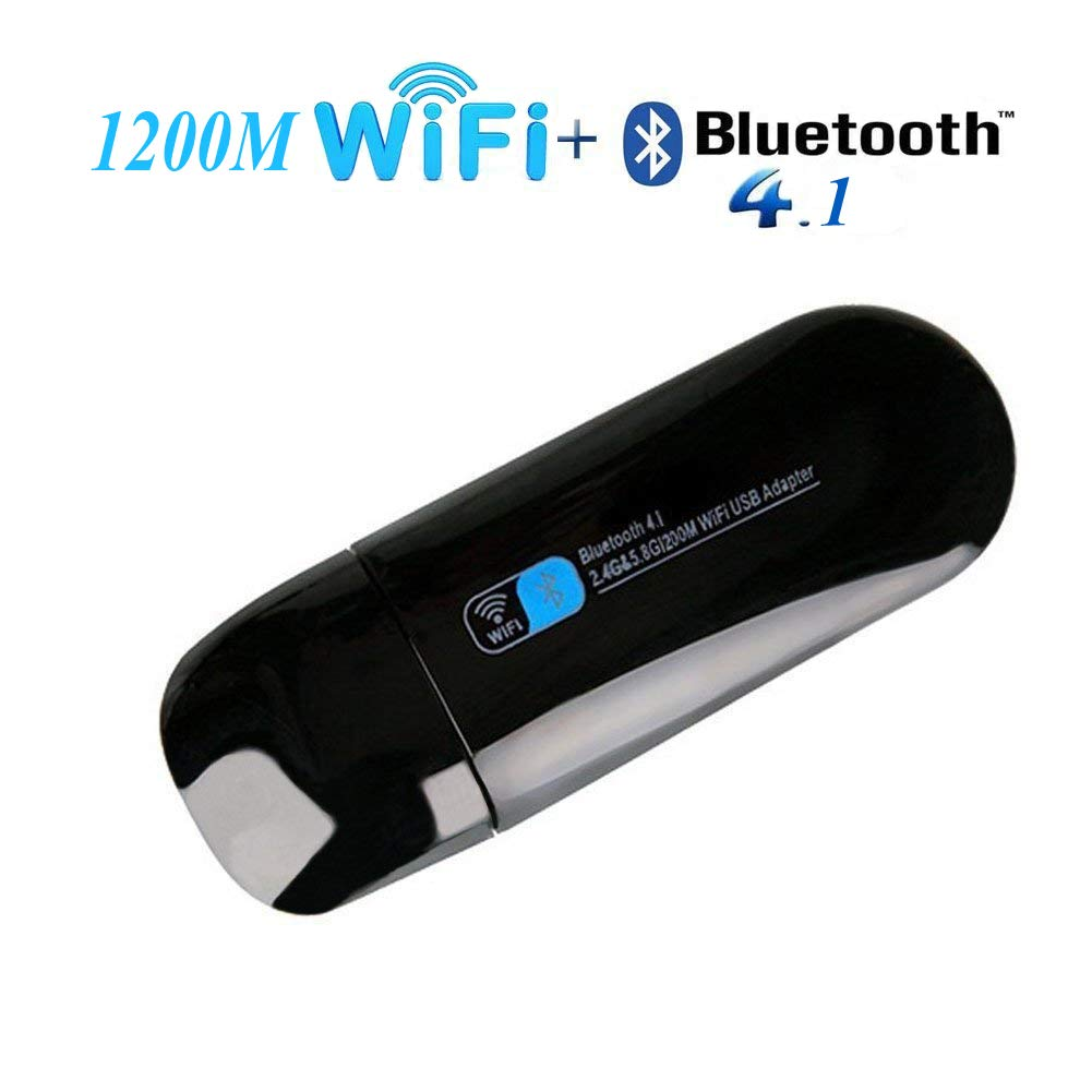 iFun4U Adaptateur ré seau USB WiFi Bluetooth, Carte de dongle ré seau WiFi 1200M Carte de dongle réseau WiFi 1200M