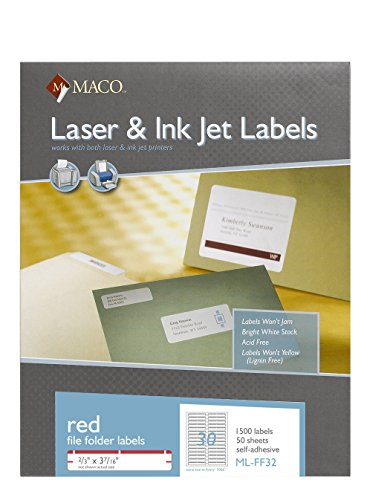 Red File Folder Labels (MACO Laser/Ink Jet Red File Folder Labels, 2/3 x 3-7/16 Inches, 30 Per Sheet, 1500 Per Box (ML-FF32))