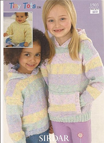 Sirdar Tiny Tots DK Knitting Pattern 1503 Hooded Sweaters Hoodies NB-6yrs Sirdar Yarn Patterns