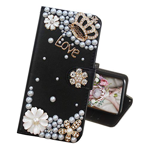 (IVY iPhone XR Wallet Cases [Synthetic Diamond Bling Pearl] Flip Cover for Apple iPhone XR - Black & Crown)