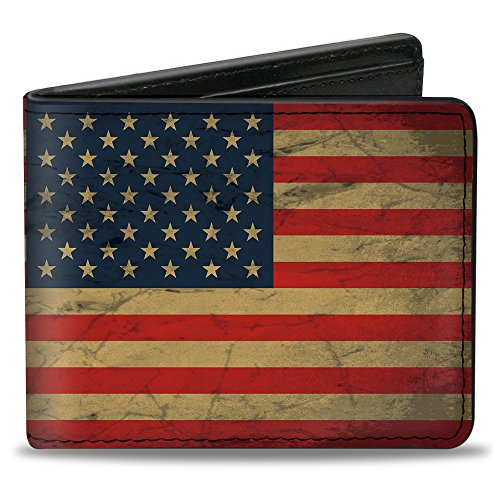 Buckle-Down PU Bifold Wallet - American Flag Weathered