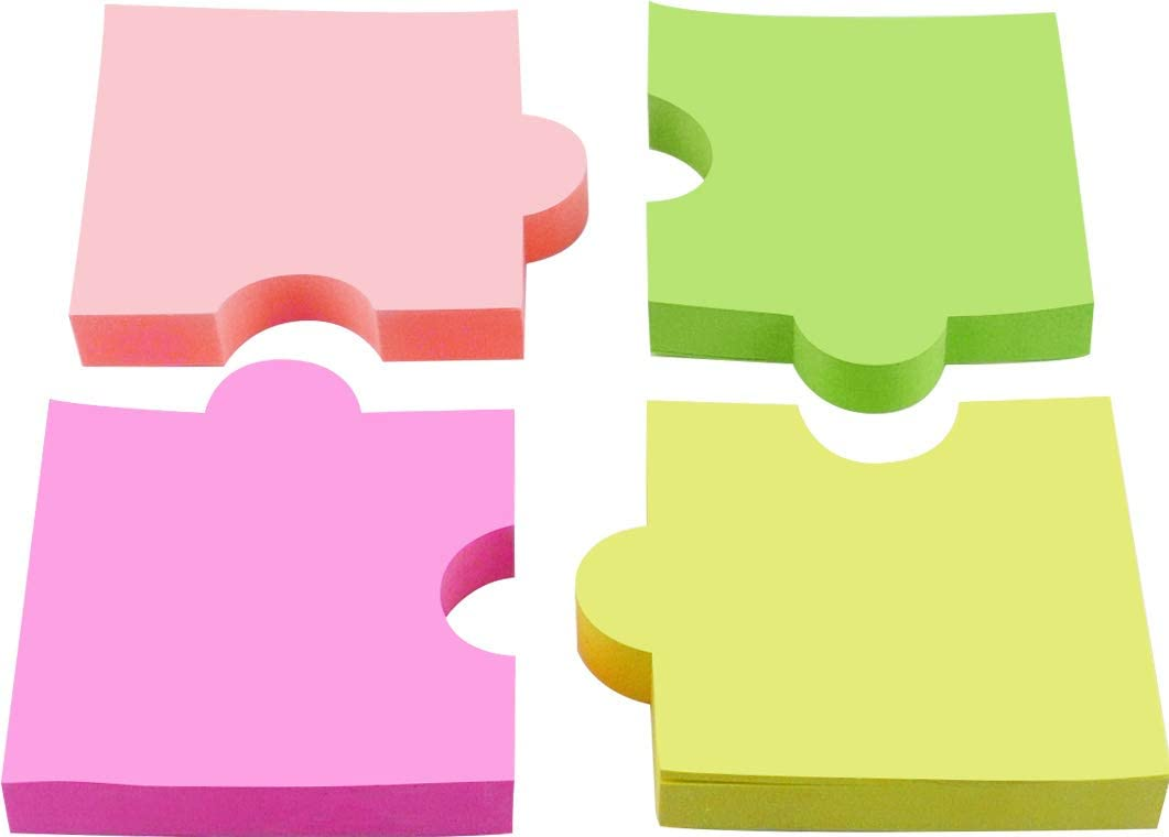 4A Shapes Sticky Notes,Puzzle,2 7/8 x 2 4/7 Inches,Neon Assorted,Self-Stick Notes,100 Sheets/Pad,4 Pads/Pack,4A 5020