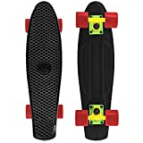 Cal 7 Complete Mini Cruiser Skateboard, 22 Inch Plastic in Retro Design, Classic Colors & Cool Graphics