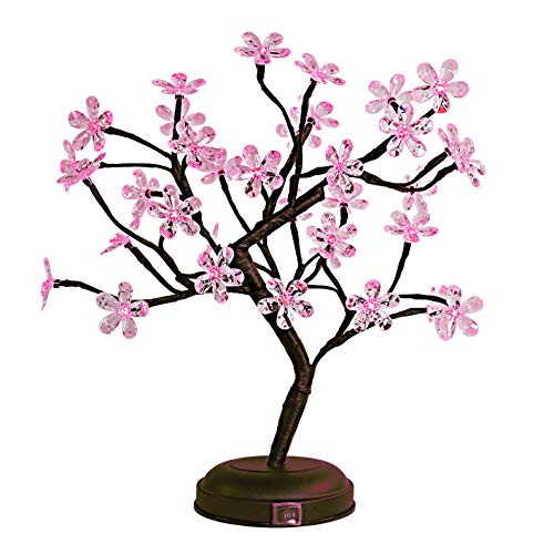Lightshare 18-inch Crystal Flower LED Bonsai Tree, Pink Light, 36 LED Lights, Battery Powered or DC Adapter(Included), Built-in ()