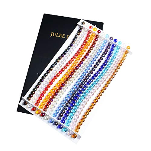 ,JuleeCrystal 8mm Wholesale Glass Beads for Bracelets Making 1 Box 12 Colors Approx 300 Pieces AB Color ()