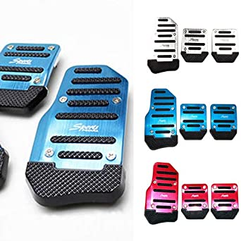 Car Non-Slip Pedal Manual Car Brake Clutch Accelerator Alloy Antiskid Foot Treadle Silver liyhh