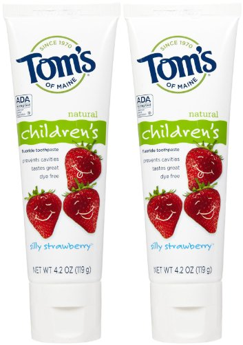 Tom's of Maine Anticavity Fluoride Children's Toothpaste - 4.2 oz - Silly Strawberry - 2 pk (Anticavity Toms Of Toothpaste Maine)