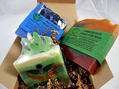 Men's Soap Gift Set 3 All Natural Soaps in 1 Gift-able Box W/ Ribbon and Bow Includes Lumberjack, Mojave Mirage, and Macho Man Soaps For Men (SINGLE 3 PACK) (Leather Conditioner Sample compare prices)