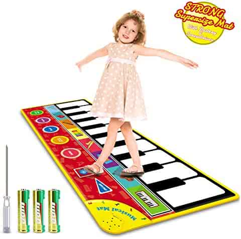 """Magicfun Kids Musical Mat, Musical Piano Mat 8 Instrument Sounds 5 Play Modes with 3xAA Batteries and Screwdriver Set Dance and Learn Mat for 2 3 3+ Year Old Boy Girl Toys 58.26""""x 23.62"""""""