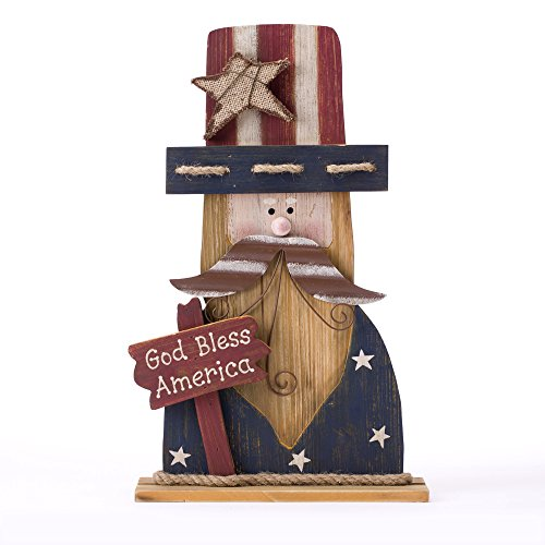 Glitzhome Rustic Wooden Uncle Sam Patriotic Decor