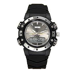 JewelryWe Mens Womens Sports Digital Clocks Quartz Dual Time Multifunctional Watch - Black