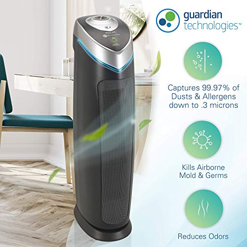 Germ Guardian True HEPA Filter Air Purifier for Home, Office, Large Rooms, Filters Allergies, Pollen, Smoke, Dust, Pet Dander, UV-C Sanitizer Eliminates Germs, Mold, Odors, Quiet 28 inch 3-in-1 AC5000