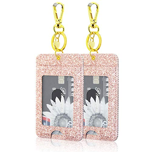 [2 Pack] ID Badge Holder, ACdream ID Badge Clip Key Chain Holder, PU Leather ID Badge Reel Clip Card Holder with Key Ring, Metal Clip, 2 Card Pockets, Glitter Rose Gold ()
