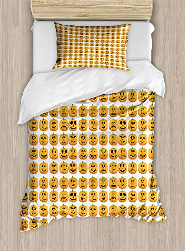 Ambesonne Autumn Pumpkin Duvet Cover Set Twin Size,