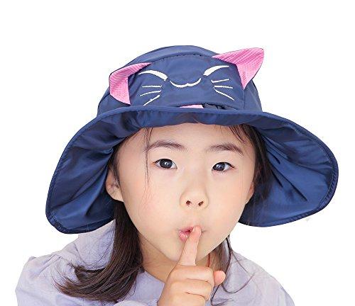 Chat voyage uv Coton Plage Acvip Enfant Casquette Anti Pêcheur Bob En Chapeau Hat De Motif Vide Mignon Marine Bleu Soleil Calotte v7vwU
