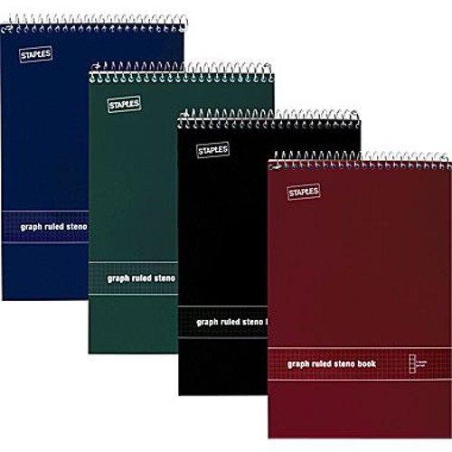 (Staples® White Paper Steno Pads, Quad Ruled, 6