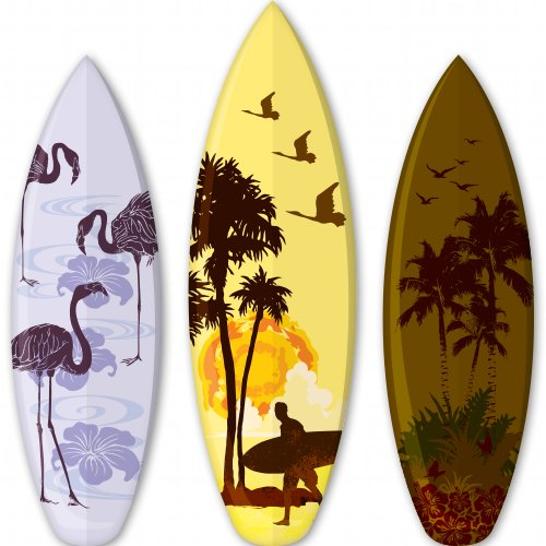 Surfboards Tropical Set of 3 Vinyl Sticker - SELECT SIZE