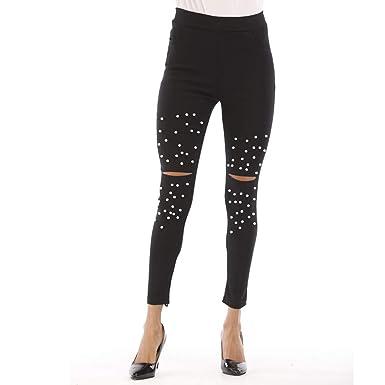 RISTHY Leggings Vaqueros Mujer Skinny Pantalón Vaquero Rotos ...