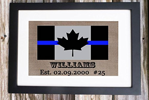 Canada Flag Police Gift, Thin Blue Line, Custom Handmade Gift Canada FLAG with Police Officers Last Name and EST. Year Batch number Rustic Charm Burlap