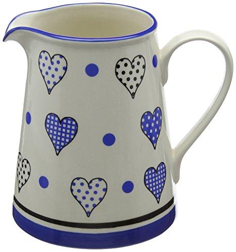 Fairmont & Main Medium-Sized Jug, Cream with Blue Hearts