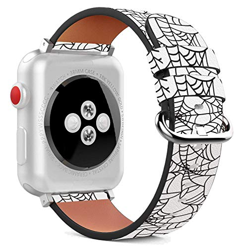 38mm Replacement Apple Watch PU Leather Wristband Bracelet Stainless Steel Clasp Adapters - Halloween Ghost Bat