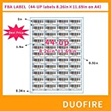 Duofire FBA Label Shipping Mailing stickers A4(100 Sheets, 4400 Labels) 44-up Labels 48.5 X 25.4 Mm on A4(1 X 1.9 Inches), White Self Adhesive Shipping Mailing Stickers for Laser/inkjet Printer