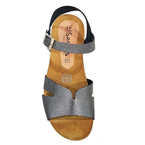 Sandalia piel plomo grabada. PLanta anatómica. Talla 37