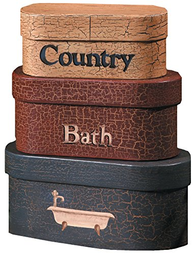 Your Heart's Delight 8 by 4-Inch Country Bath Nesting Boxes, Large (Primitive Decor Clearance)