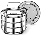 Stackable Steamer Insert Pans - Compatible with Instant Pot Accessories - Cook 3 Dishes - Pressure Cooker Accessory 6, 8 qt