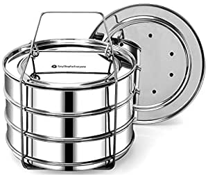 EasyShopForEveryone Stackable Stainless Steel Steamer Insert Pans, Pressure Cooker or Instant Pot in Pot Accessories for 6, 8 Qt - Steaming, Baking, Reheating, Lasagna Pans - Cook 3 Dish at a time
