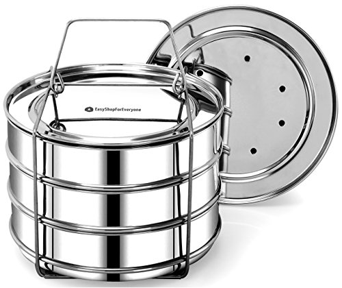 Stackable Steamer Insert Pans, Cook 3 Dishes, Pressure Cooker Accessory 6, 8 qt by EasyShopForEveryone