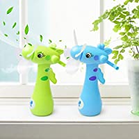 GOUP 2-PACK Summer Four Soft Fan Blades Spray Water Fans + Strong Wind Hand Mini Fans, Children and Adult Portable + Creative + Handheld Fan, Cute Cartoon Fans for Home and Outdoor, Blue Green