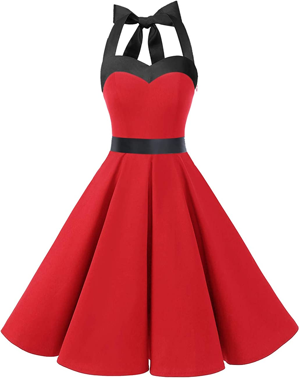 TALLA M. Dresstells® Halter 50s Rockabilly Polka Dots Audrey Dress Retro Cocktail Dress Red Black M