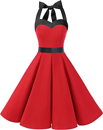 TALLA S. Dresstells® Halter 50s Rockabilly Polka Dots Audrey Dress Retro Cocktail Dress Red Black S