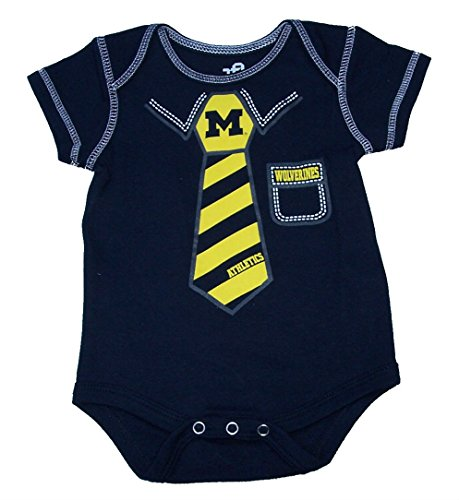 Ncaa Baby Creepers Shop - Michigan Wolverines Suit Tie Onesie Size 18 Month NCAA Bodysuit Navy Creeper